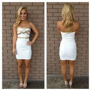 DESIGNER White Gold Sequin Bodycon Party Dress